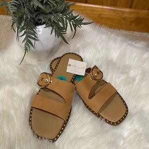 Mila Paoli: Genuine Leather Buckle Strappy Studded Slip On Slides Sandals (NWT)